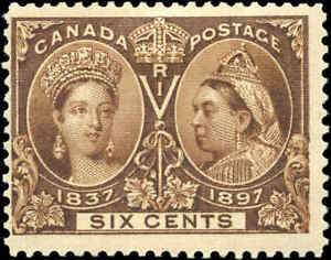 Mint-Canada-6c-1897-F-Scott-55-Diamond-Jubilee-Issue-Stamp-Hinged