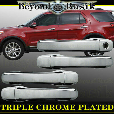 For 2011 12 13 14 Ford Explorer Chrome Door Handle Covers Without Smart Key