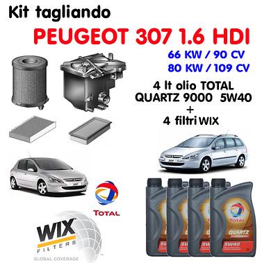 KIT TAGLIANDO 4 FILTRI PEUGEOT 206 SW 1.6 HDi 16V 80Kw 110cv dal 2004