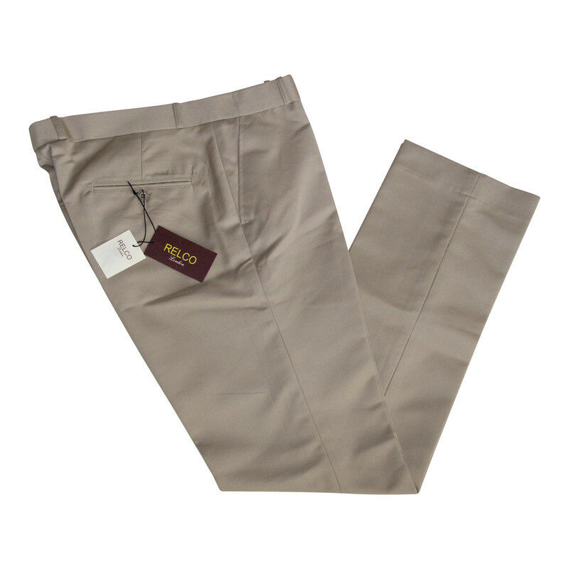 Sta Press Trousers Vintage Style - Khaki - Retro Mod   Suedehead   Relco -NEW