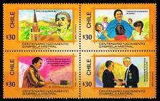 CHILE 1989-Gabriela Mistral, Writer-Nobel Prize Winner, Block of 4-MNH