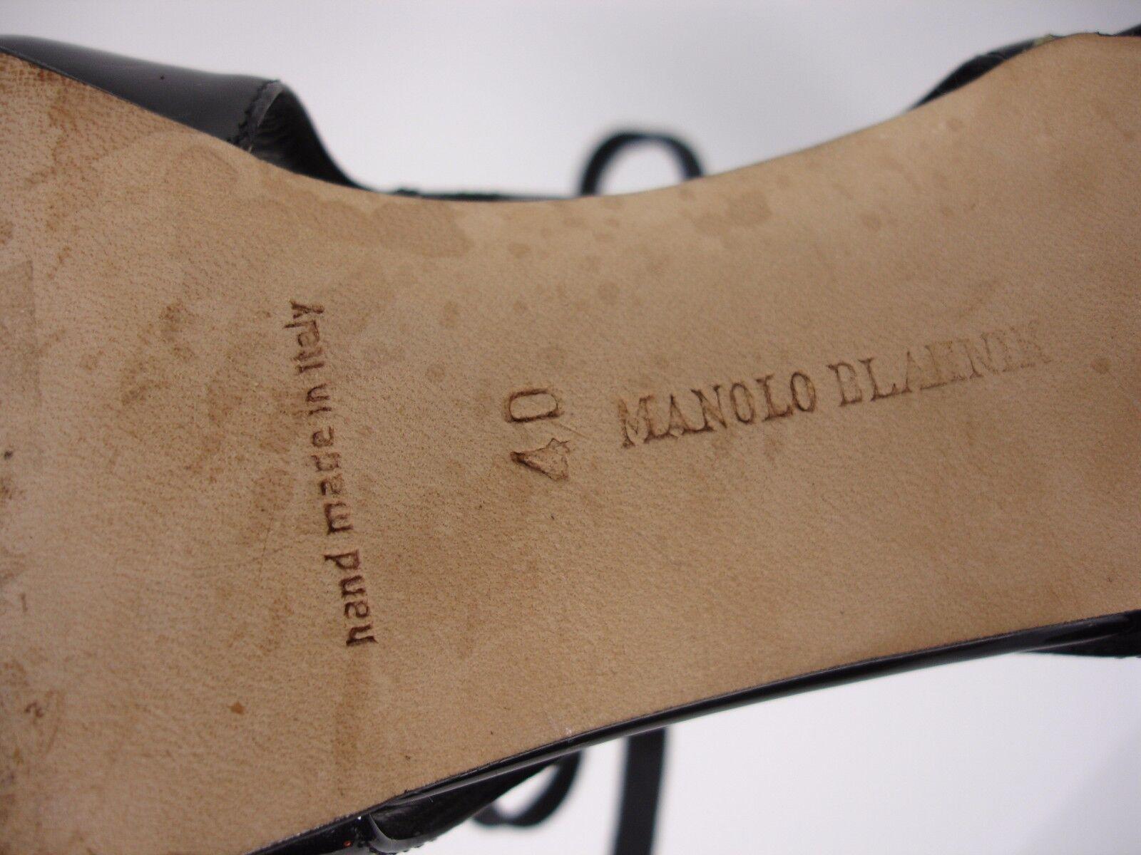 MANOLO BLAHNIK  PATENT LACE LEATHER LACE PATENT FRONT OPEN TOE HEELS Schuhe WOMEN'S 40 2039f3