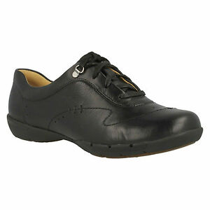 Ladies Halsie Shoes Sporty Lace Clarks Casual Un Unstructured Up Black Leather 6Rq75fwfx