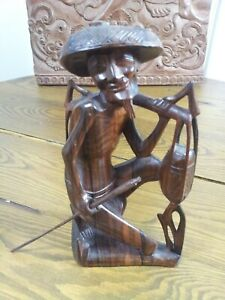 Vintage-Balinese-Indonesian-Carved-Wood-Water-Carrier-Sculpture-Amazing-Detail