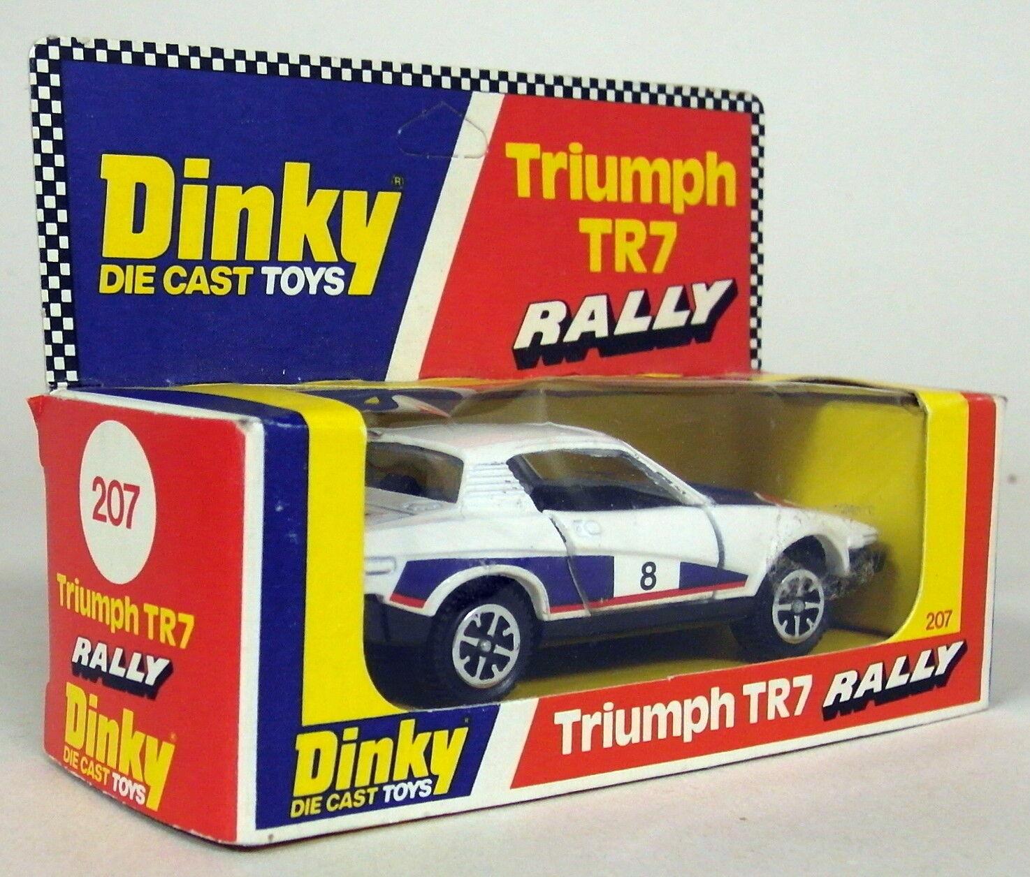 DINKY TOYS 1 43 env. échelle vintage 207 Triumph TR7 Rallye Race Car + boîte d'origine