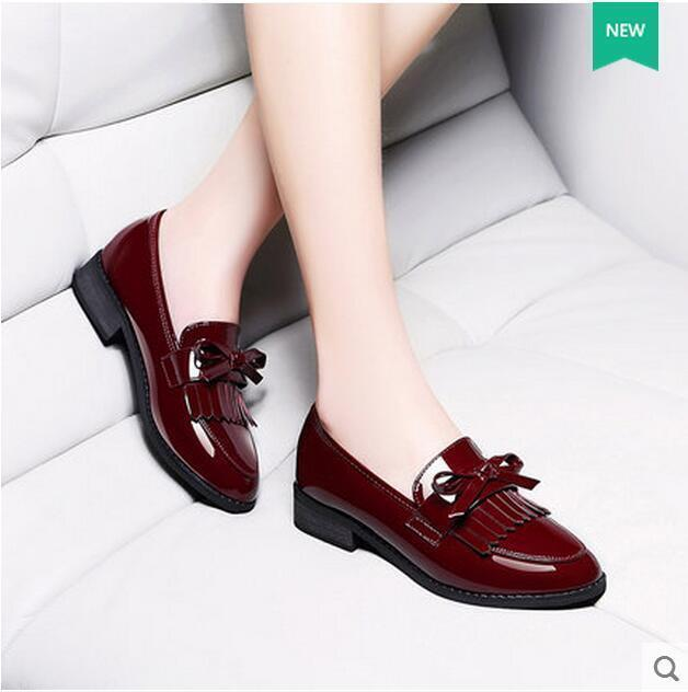 Women's Round Toe Collegiate Chunky Heels Tassel Sweet Bowknot Oxford shoes @B01