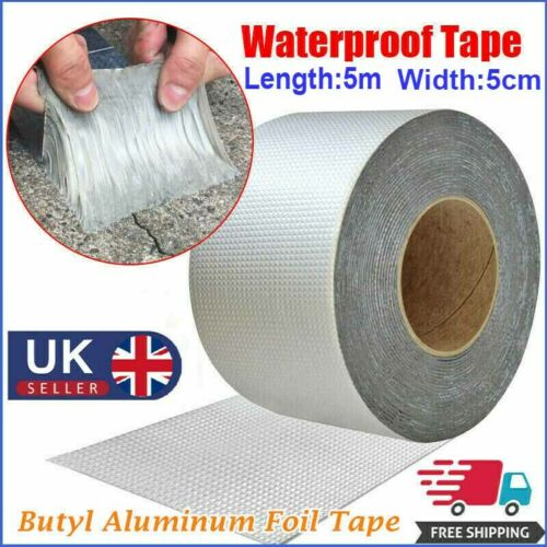 5m*5cm Super Strong Sticky Butyl Seal Rubber Aluminum Foil Tape Waterproof Tapes