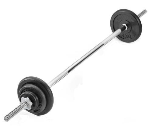 Weight Training Barbell Press /& Curl Bar Set Cast Iron Plates 5kg 10kg 15kg 20kg