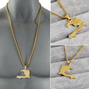 Simple Gold Plated Haiti Map Shaped Necklace Pendant Long Chain