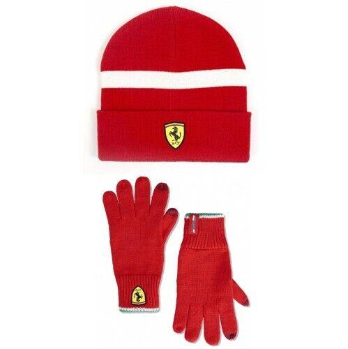 Ferrari Scuderia Knitted Winter Gloves//beanie set Red size universal NEW