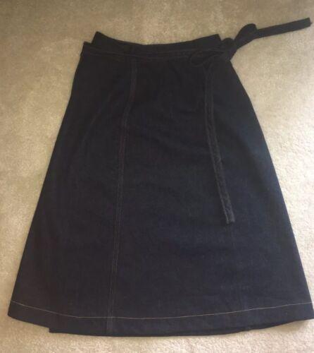 Vintage 70s Wrangler Denim Wrap Skirt Dark Blue Go