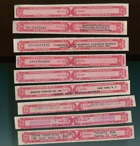 9 US IRS Internal Revenue Tax Paid 1 QT 1/5 Gal Distilled