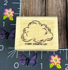 Stampin' Up! Cloud Outline Rubber Stamp 2001 Fluffy Sky Weather Wood Mount #B102