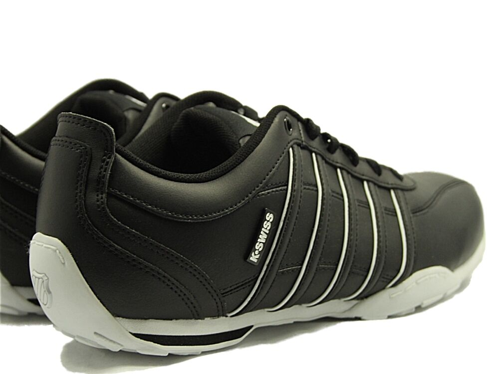 Herren NEW KSWISS ARVEE LACE UP LEATHER TRAINERS IN BLACK Weiß COLOUR SIZE 6-12 9456ae
