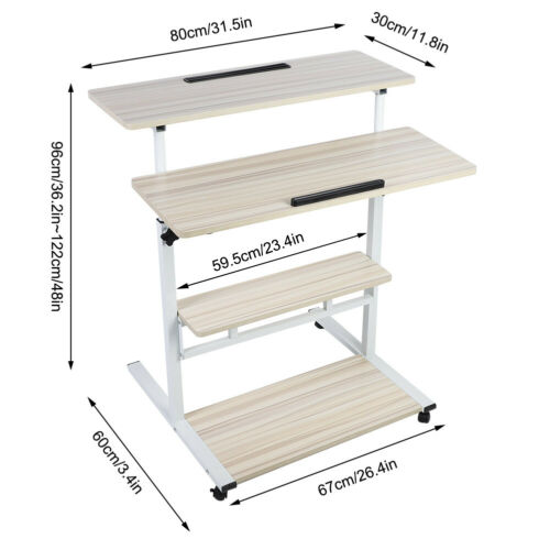 5Type Adjustable Height Stand Up Desk Computer Workstation Rising Laptop w//Wheel