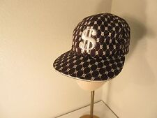 $Cap Hat Lid Dollar Sign Money SZ 7.5 Brown And White Flat Bill Size 7.5