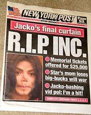 MICHAEL JACKSON DIES NEW YORK POST NEWS PAPER RIP BASEBALL PAGE 6 JULY 7 2009