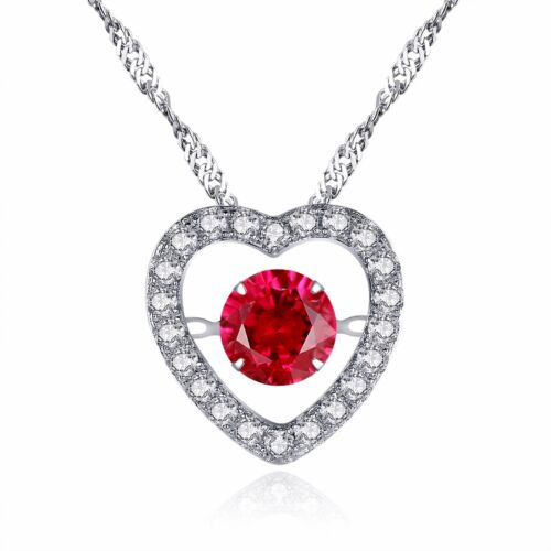 0.5 Ct Dancing Round Lab Ruby Sterling Silver Heart Shape Pendant Necklace
