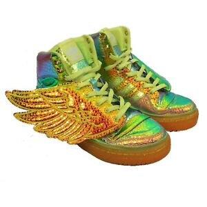 Details about JEREMY SCOTT ADIDAS Wings Iridescent Foil Sneakers Trainers UK9.5
