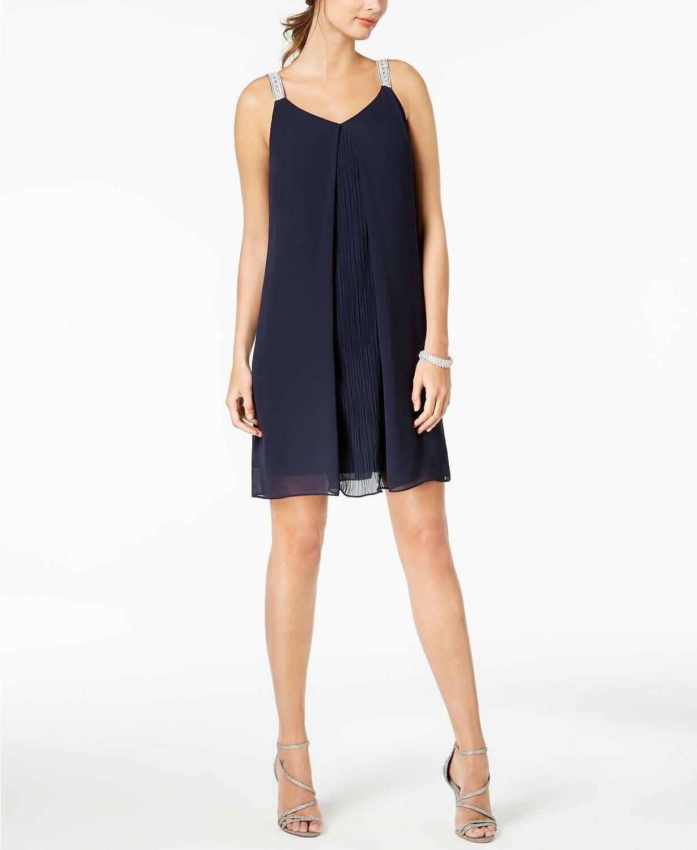 NEW  MSK Women's blueE SLEEVELESS RHINESTONE EMBELLISHED SHIFT DRESS SIZE 12