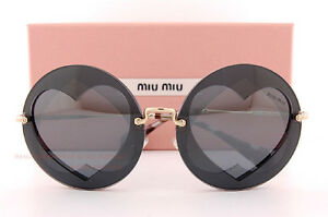 eb565110a953 Brand New Miu Miu Sunglasses MU 01SS VA3 5L0 Gray Round Hearts For ...