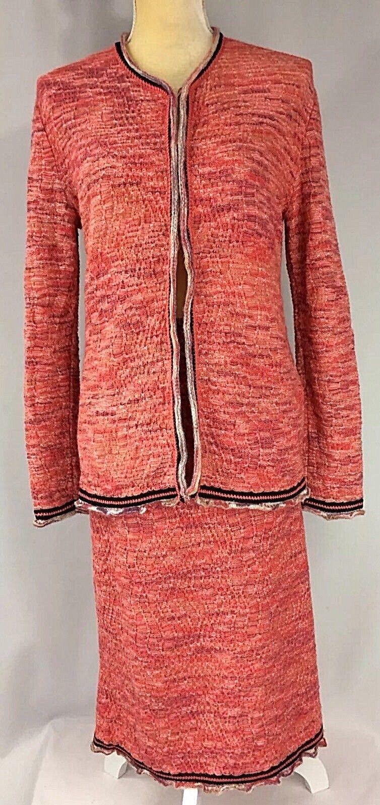 Missoni Women 2-Pc Suit Skirt Sweater Set Cardigan 46 Large Wool Knit Pink Beige