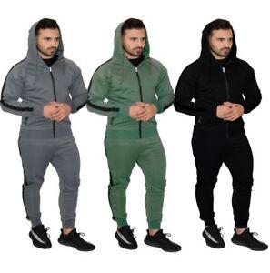 Set-Tuta-da-uomo-con-cerniera-felpa-con-cappuccio-Top-Bottoms-Pantaloni-Sportivi-Jogging-Palestra