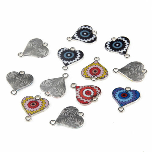 10x Mixed Color Heart Sunflower 15*15mm Silver Tone Enamel Connector Charms Bead