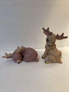 VINTAGE Ceramic Christmas Reindeer Mold Figurines Lot (2) Hand Painted Holiday