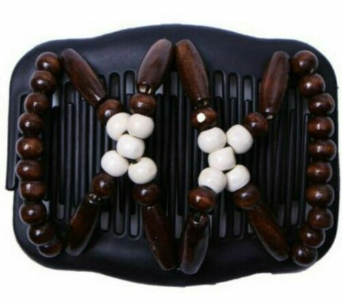 Women Stretchy Magic Hair Clip Hairpin Double Slide  Wood Beads Hair Comb Access