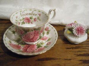 Royal-Albert-Bone-China-Teacup-Saucer-Flower-of-the-Month-NOVEMBER-Chrysanthemum