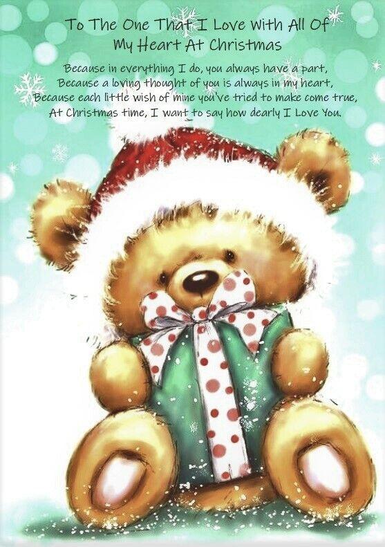 A la que amo con todo mi corazón A5 tarjeta de Navidad versos significativo