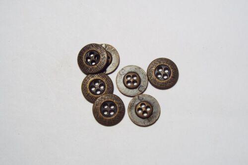 8pc 15mm Dark Antique Bronze Metal Shirt Blazer Coat Cardigan Kid Button 2788