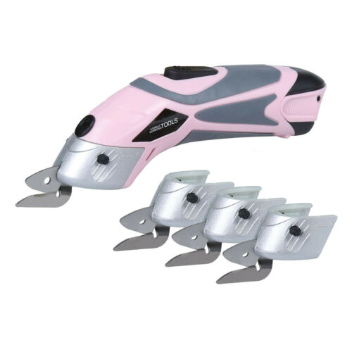 Great Working Tools Cordless Power Electric Scissors /& 4 Crafting Blades Pink