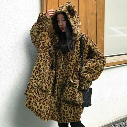 Overcoats Coats Fur Winter Leopard Hooded Fashion Faux Loose Dame Oversize zTw7axqA