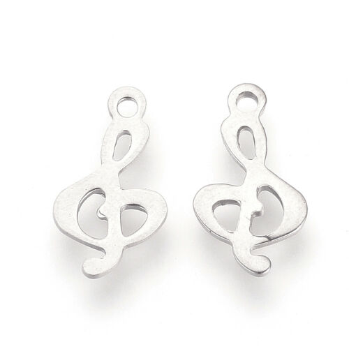100pcs 304 Stainless Steel Musical Note Pendants Treble Clef Charms Smooth 15mm