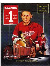 "Terry Sawchuk, ""Mr Zero"" commemorative 8 x 10 card with facsimile autograph"