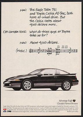 1991 Black CHRYSLER EAGLE TALON TSi Sports Car Musical Notes VINTAGE AD