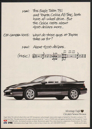 VINTAGE AD Musical Notes 1991 Black CHRYSLER EAGLE TALON TSi Sports Car