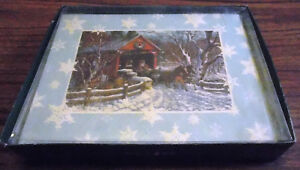 New-Leanin-039-Tree-Boxed-Christmas-Cards-Covered-Bridge-Sleigh-Horses-Envelopes