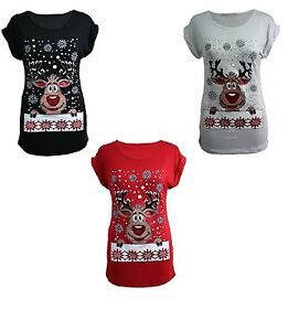 ea747da1 Image is loading WOMEN-LADIES-CHRISTMAS-GLITTER-RUDOLPH-PRINT-T-SHIRTS-