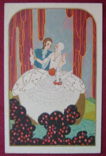 ARTIST SIGNED POSTCARD BAROQUE COURTSHIP LOVERS COSTUME 4.