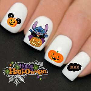 Stitch-Pumpkin-Halloween-Nails-Nail-Art-Water-Transfer-Decal-Wraps-Y760