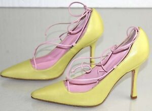eff3c276c453 NEW Manolo Blahnik CHURU Leather LACE UP Pumps BB Lime Green Pink ...