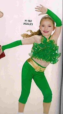 Christmas dance costume artstone green jazz hip hop tap Pageant capri Jiggles