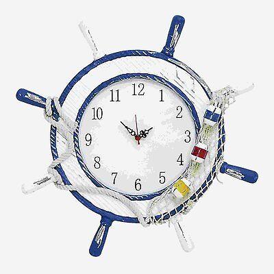 Woodland Imports 38737 Wooden Steering Wheel Wall Clock