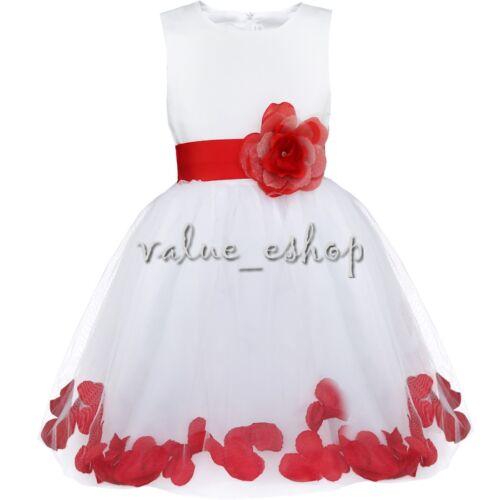 Petals Baby Flower Girl Dress Princess Bridesmaid Communion Wedding Formal Party