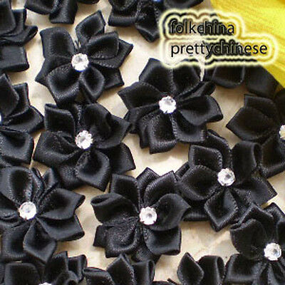 Black Polyester Ribbons Floral With Bead Sewing Scrapbooking Appliques JM9B