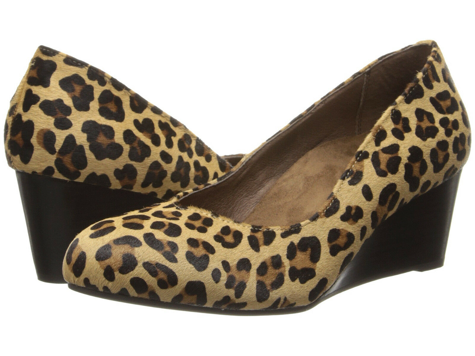 NEW VIONIC 129 TAN LEOPARD ELEVATED ANTONIA WEDGE Schuhe SZ 6