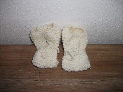 ##baby Socken Erstling Strick Beige Geschenk Geburt Taufe Handarbeit 8 Cm ##